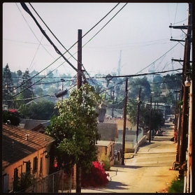Morning in Barrio Logan, with Shipyards in the distance.
